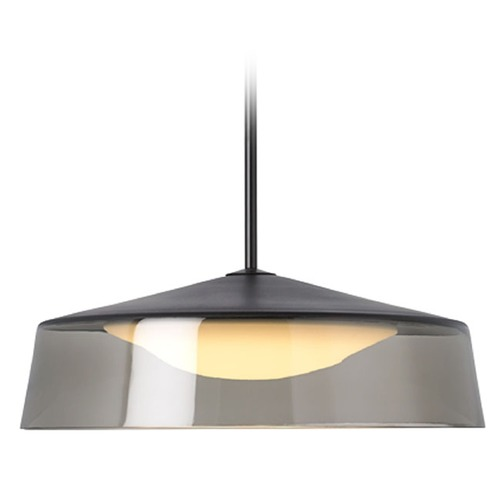Tech Lighting Grande Modern Smoke Glass Pendant Light in Black 700TDMSQGPKBB-LED