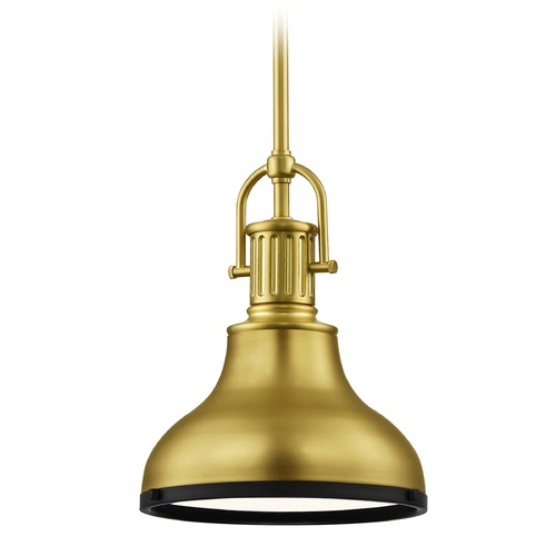 Design Classics Lighting Brass Small Farmhouse Mini-Pendant with Black Accents 8.63-Inch Wide 1764-12 SH1778-12 R1778-07