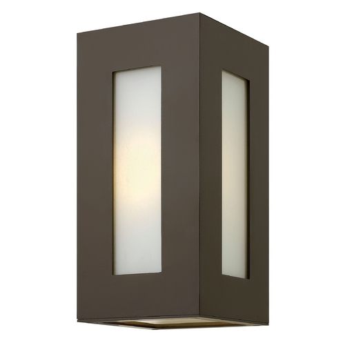 Hinkley Lighting Modern Outdoor Wall Light with White Glass in Bronze Finish 2190BZ-GU24
