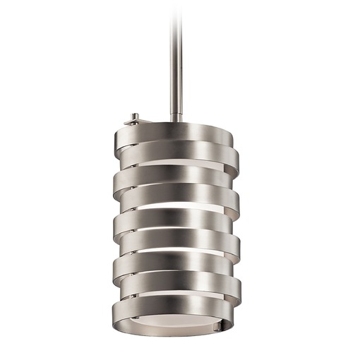 Kichler Lighting Kichler Lighting Roswell Brushed Nickel Mini-Pendant Light with Cylindrical Shade 43304NI