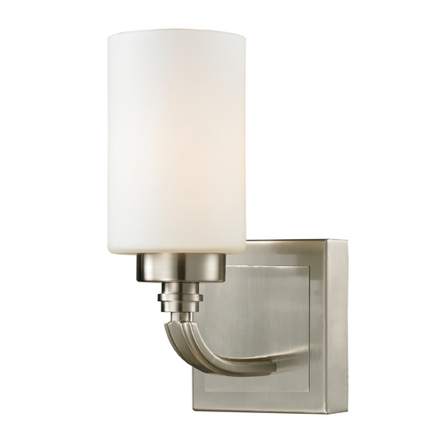 Elk Lighting Modern Sconce Wall Light with White Glass in Brushed Nickel Finish 11660/1