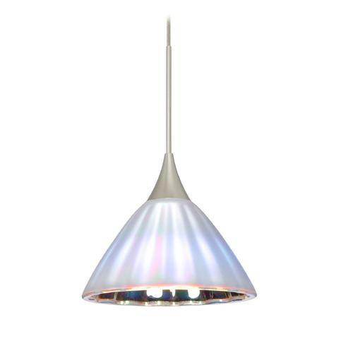 Besa Lighting Besa Lighting Domi Satin Nickel LED Mini-Pendant Light with Bell Shade 1XT-184395-LED-SN