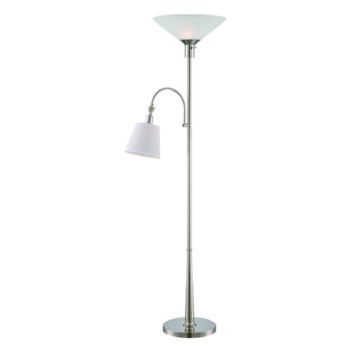 Lite Source Lighting Lite Source Kendahl Chrome Torchiere Lamp with Conical Shade LS-82351