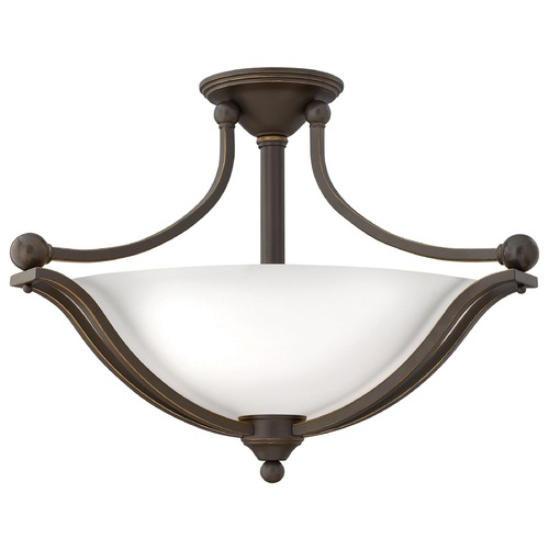 Hinkley Lighting Hinkley Lighting Bolla Olde Bronze Semi-Flushmount Light 4669OB-OPAL
