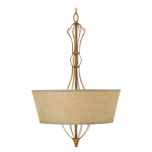 Hinkley Lighting Hinkley Lighting Celine Antique Gold Leaf Pendant Light with Drum Shade 3084GF