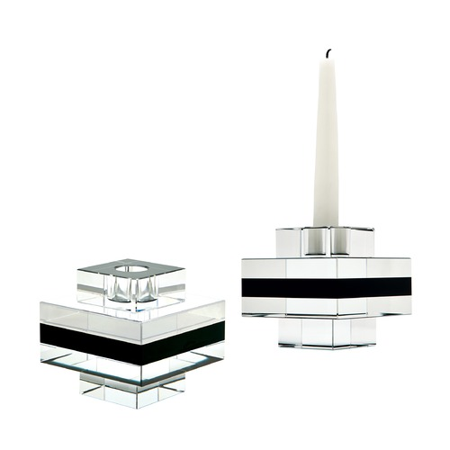 Dimond Home Square Tuxedo Crystal Pedestal Candleholders - Set Of 2 980018/S2