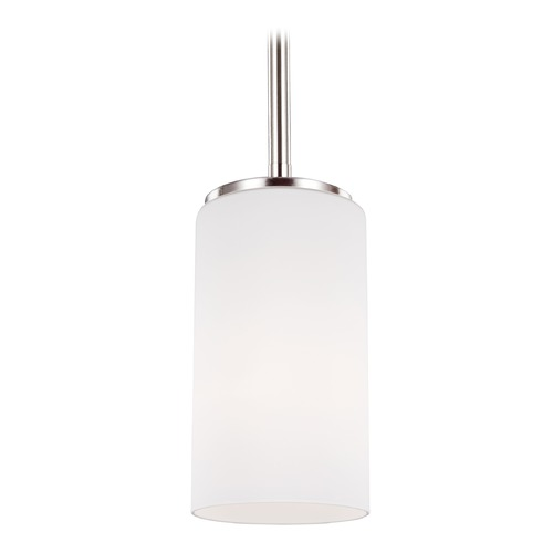 Sea Gull Lighting Sea Gull Alturas Brushed Nickel Mini-Pendant Light with Cylindrical Shade 6124601-962