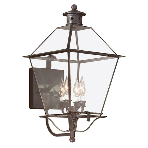 Troy Lighting Outdoor Wall Light with Clear Glass in Charred Iron Finish B8957CI
