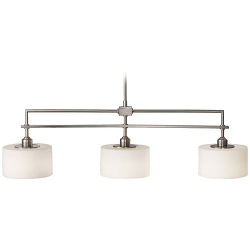 Sea Gull Lighting Modern Island Light with White Glass in Brushed Steel Finish F2402/3BS