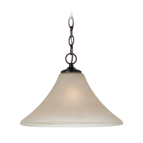 Sea Gull Lighting Pendant Light with Beige / Cream Glass in Burnt Sienna Finish 65180-710