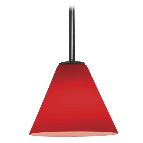 Access Lighting Modern Mini-Pendant Light with Red Glass 28004-1R-ORB/RED