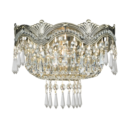 Crystorama Lighting Crystal Sconce Wall Light in Historic Brass Finish 1480-HB-CL-SAQ