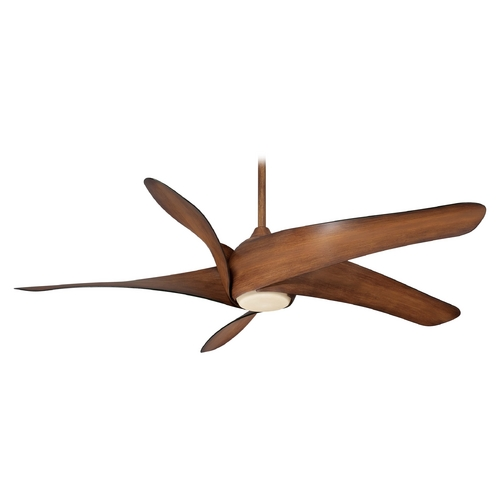 Minka Aire Modern Ceiling Fan with Light with Beige / Cream Glass in Distressed Koa Finish F905-DK