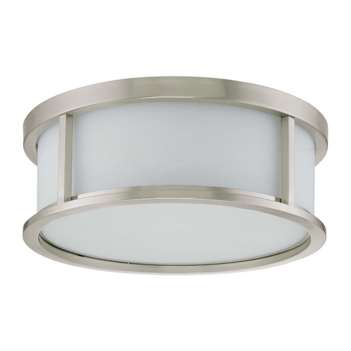 Nuvo Lighting Flushmount Light with White Glass in Brushed Nickel Finish 60/2864