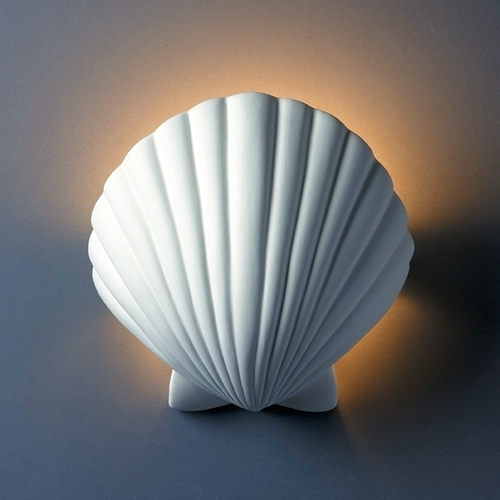 Justice Design Group Shell Wall Sconce Light in Bisque Finish CER-3730-BIS
