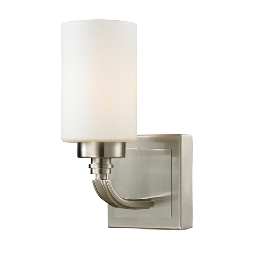 Elk Lighting Modern LED Sconce Wall Light with White Glass in Brushed Nickel Finish 11660/1-LED