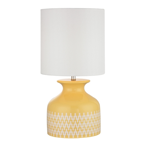 Dimond Lighting Sunshine Yellow Chevron Patterned Table Lamp with White Shade D2503