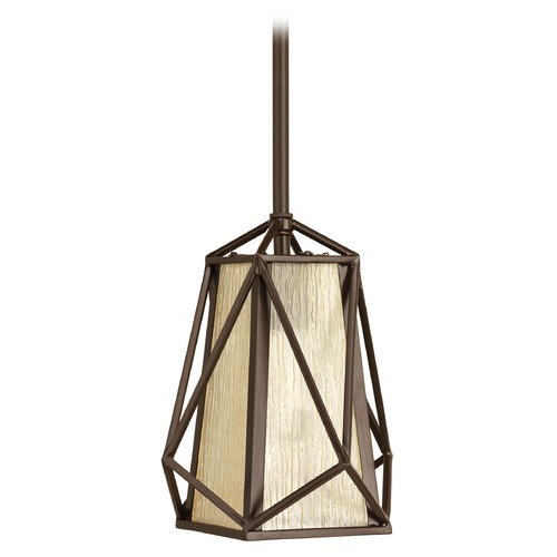 Progress Lighting Progress Lighting Marque Antique Bronze Mini-Pendant Light with Square Shade P5073-20