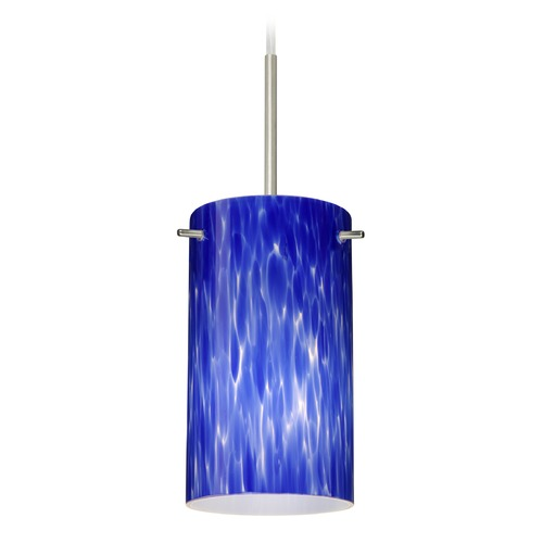 Besa Lighting Besa Lighting Stilo Satin Nickel Mini-Pendant Light with Cylindrical Shade 1BT-440486-SN