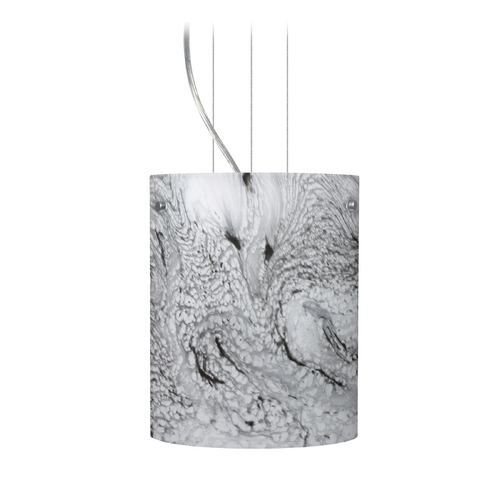Besa Lighting Modern Pendant Light with Grey Glass in Satin Nickel Finish 1KG-4006MG-SN