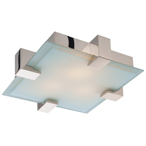 Sonneman Lighting Modern Flushmount Light with White Glass in Polished Chrome Finish 3680.01F