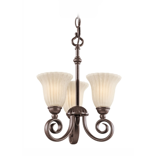 Kichler Lighting Kichler Mini-Chandelier with White Glass in Tannery Bronze Finish 3728TZ