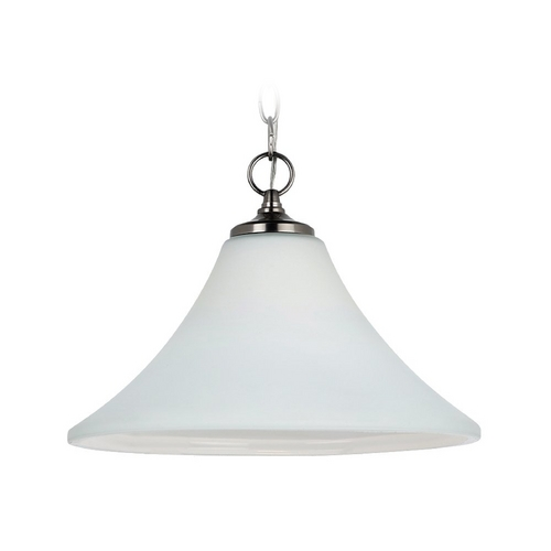 Sea Gull Lighting Pendant Light with White Glass in Antique Brushed Nickel Finish 65180-965