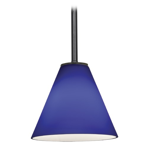 Access Lighting Modern Mini-Pendant Light with Blue Glass 28004-1R-ORB/COB