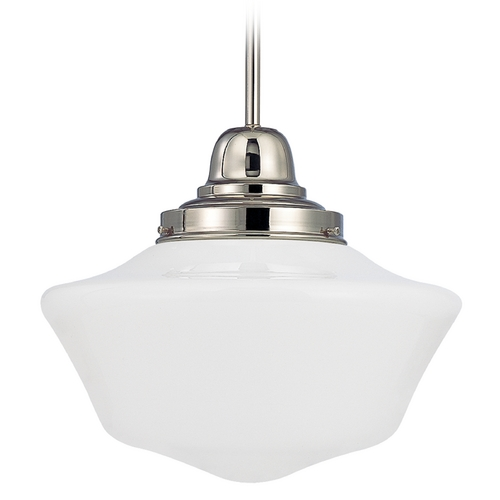 Design Classics Lighting 14-Inch Polished Nickel Schoolhouse Pendant Light FB6-15 / GA14
