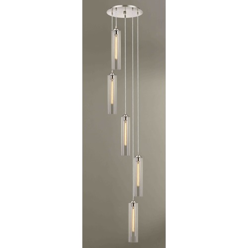 Design Classics Lighting Satin Nickel Multi-Light Pendant with Cylindrical Shade 580-09 GL1640C