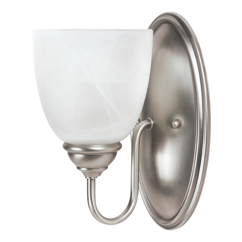 Sea Gull Lighting Sconce Wall Light with Alabaster Glass in Antique Brushed Nickel Finish 44316BLE-965