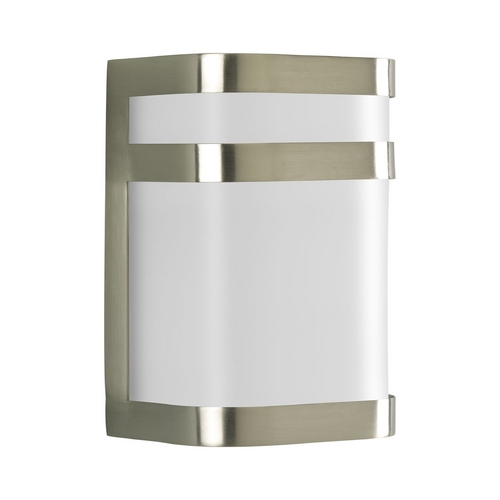 Progress Lighting Progress Modern Outdoor Wall Light with White in Brushed Nickel Finish P5800-09