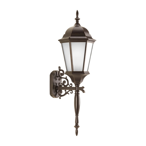 Progress Lighting Outdoor Wall Light with White Glass in Antique Bronze Finish P5684-20