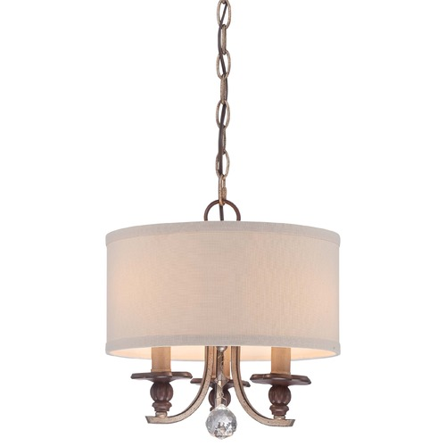 Minka Lavery Minka Gwendolyn Place Dark Rubbed Sienna Pendant Light with Drum Shade 4352-593
