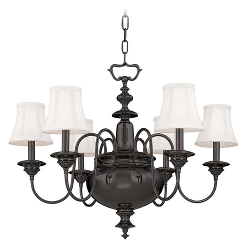 Hudson Valley Lighting Chandelier with White Shades in Old Bronze Finish 8716-OB