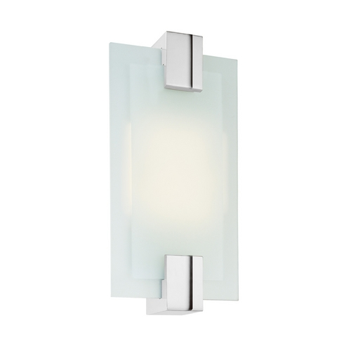Sonneman Lighting Modern Sconce Wall Light with White Glass in Polished Chrome Finish 3681.01F