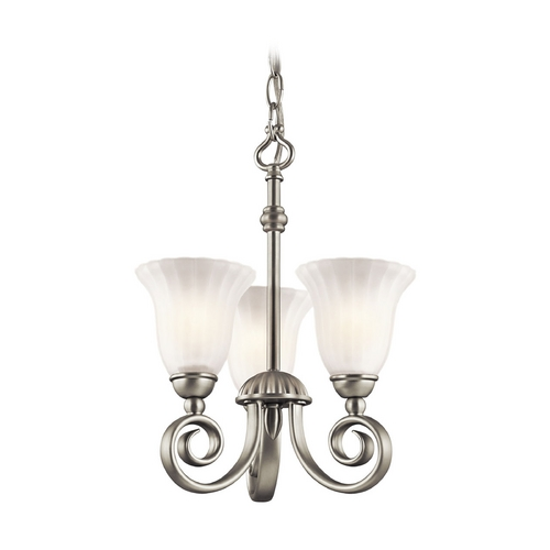 Kichler Lighting Kichler Mini-Chandelier with White Glass in Brushed Nickel Finish 3728NI