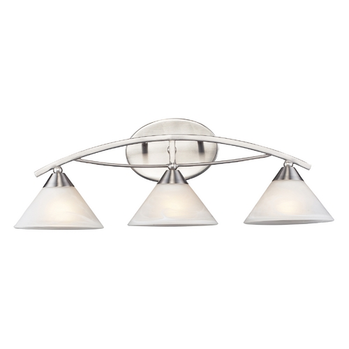 Elk Lighting Modern Bathroom Light with White Glass in Satin Nickel Finish 7632/3