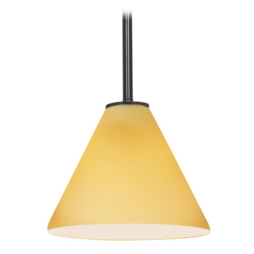 Access Lighting Modern Mini-Pendant Light with Amber Glass 28004-1R-ORB/AMB