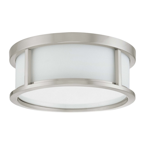 Nuvo Lighting Flushmount Light with White Glass in Brushed Nickel Finish 60/3811
