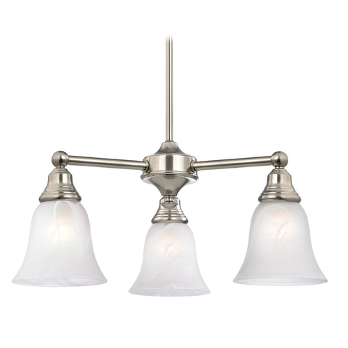 Design Classics Lighting Mini-Chandelier with Alabaster Bell Glass with Three Lights 598-09 GL9222-ALB