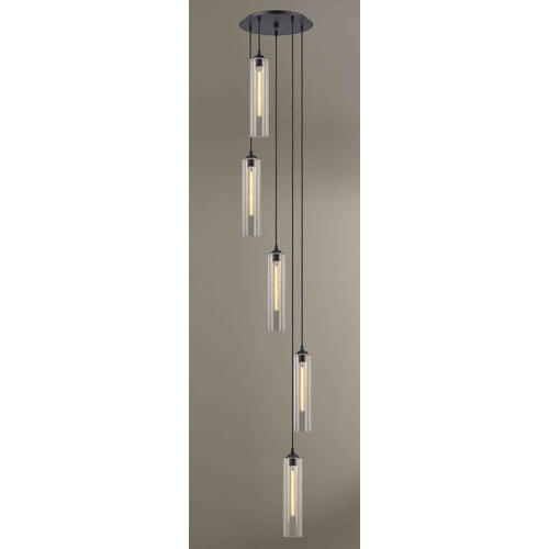 Design Classics Lighting Bronze Multi-Light Pendant with Cylindrical Shade 580-220 GL1640C