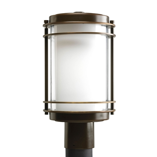 Progress Lighting Progress Post Light with White Glass in Oil Rubbed Bronze Finish P5472-108