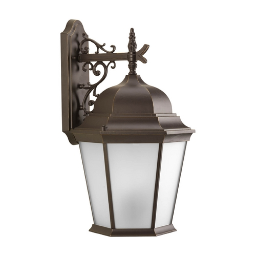 Progress Lighting Outdoor Wall Light with White Glass in Antique Bronze Finish P5690-20