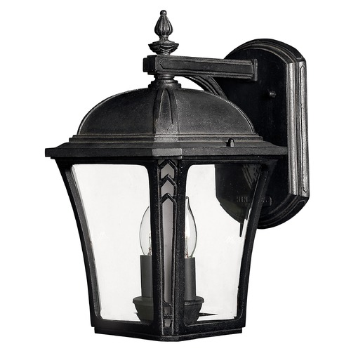 Hinkley Lighting Outdoor Wall Light with Clear Glass in Museum Black Finish 1334MB