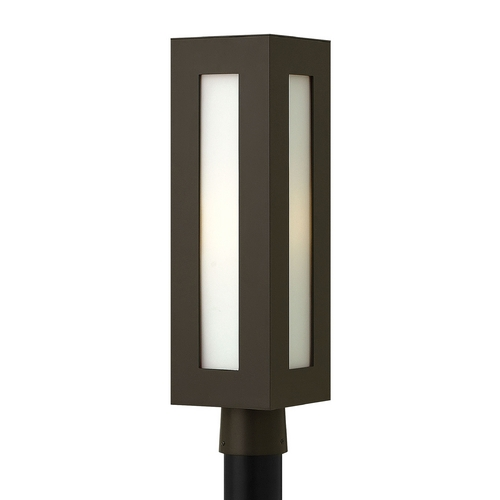 Hinkley Lighting Modern Post Light with White Glass in Bronze Finish 2191BZ