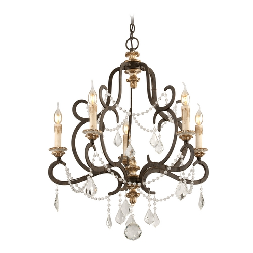 Troy Lighting Crystal Chandelier in Parisian Bronze Finish F3515