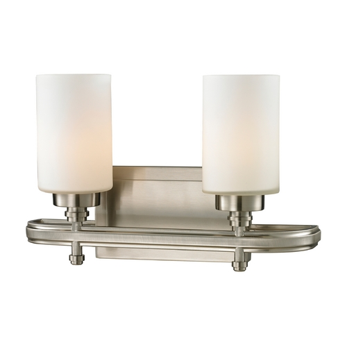 Elk Lighting Modern LED Bathroom Light with White Glass in Brushed Nickel Finish 11661/2-LED