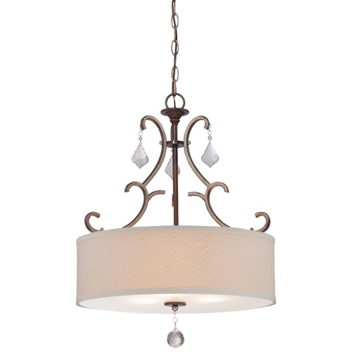 Minka Lavery Minka Gwendolyn Place Dark Rubbed Sienna Pendant Light with Drum Shade 4353-593