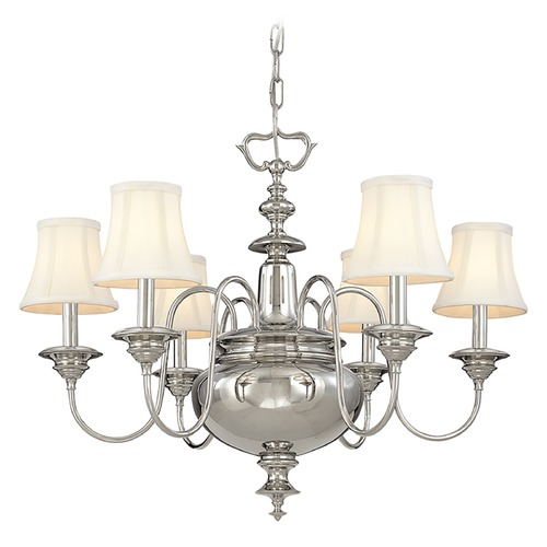 Hudson Valley Lighting Chandelier with White Shades in Polished Nickel Finish 8716-PN